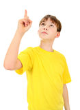 Kid Pointing Up Stock Photography