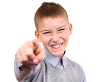 Kid pointing at You. Isolated on the White Background Royalty Free Stock Photography
