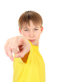 Kid pointing at You. Serious Boy pointing at You Isolated on the White Background Stock Images