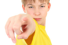 Kid Pointing at You. Serious Kid pointing at You  on the White Background Stock Image