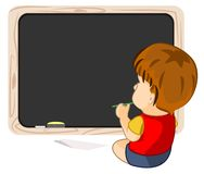 A Kid Pondering Learning Staring at Blackboard Royalty Free Stock Photos