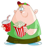 Kid with popcorn and soda. Fat kid with popcorn and soda Stock Images