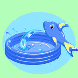 Kid portable pool isolated on green background. Vector illustration. Kid portable pool with fish isolated on green background. Vector illustration Royalty Free Stock Photo