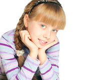 Kid portrait. Portrait of a beautiful girl on white background Stock Photography