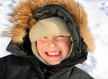 Kid Portrait in Winter Stock Photography