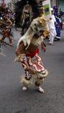 Kid with a prehispanic costume dancing Stock Photography