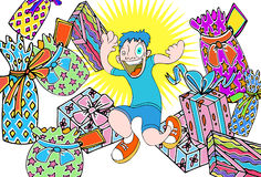 Kid with Presents. Kid gets so many presents Stock Photo