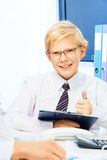 Kid pretending to be a boss Royalty Free Stock Photography