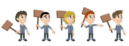 Kid protesters with wooden signs cartoon Royalty Free Stock Image