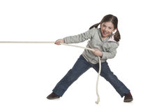 Kid pulling rope. Excited kid pulling rope, isolated over white Royalty Free Stock Photos