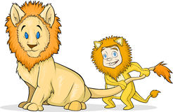 Kid pulling tail of a Lion Royalty Free Stock Image