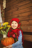 Kid and pumpkin. Royalty Free Stock Images