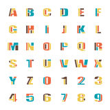 Kid purview. Mosaic style alphabet letters and numbers. vector font type design. comic lettering puzzle elements. colorful, geometric typesetting. kids typeface Stock Images
