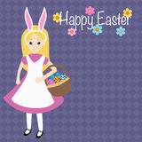 Kid in a rabbit holding the easter eggs basket. For happy easter day Royalty Free Stock Photography