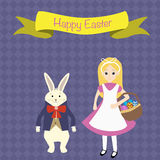 Kid in a rabbit suit  and rabbit in the suit  for happy easter badges Royalty Free Stock Images