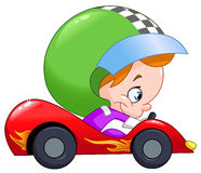 Kid race car driver. Young kid driving a race car stock illustration