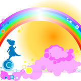Kid and rainbow Royalty Free Stock Photo