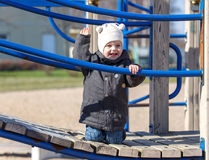 Kid raises his hand up for a walk Stock Photography