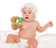 Kid with a Rattle Stock Photography