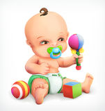 Kid with a rattle and pacifier Stock Images