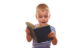 Kid read book. Isolated Stock Image