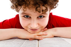 Kid reading book Royalty Free Stock Image