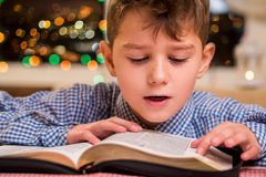 Kid reading book out loud. Boy reads book at night. Consolidating knowledge of subject. He's repeating and memorizing Stock Photos