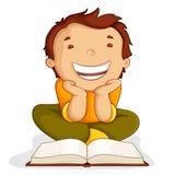 Kid reading Open Book. Vector illustration of kid reading open book sitting on floor Stock Images