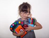 Kid ready for school. Cute clever child in eyeglasses holding school supplies: pens, notebooks, scissors and apple. Back to school concept. Space for text royalty free stock photo