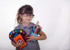 Kid ready for school. Cute clever child in eyeglasses holding school supplies: pens, notebooks, scissors and apple. Back to school concept. Space for text royalty free stock photography