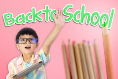 Kid ready to go back to school Royalty Free Stock Photos