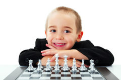 Kid ready to play chess Royalty Free Stock Images