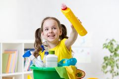 Kid ready to room cleaning Stock Photos