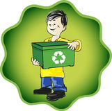 Kid with recycle basket Royalty Free Stock Image