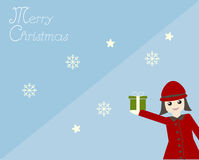 Kid in red dress Chistmas card Stock Images