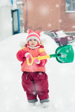 The kid in red jacket winter. Royalty Free Stock Photography