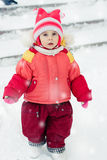 The kid in red jacket winter. Stock Images