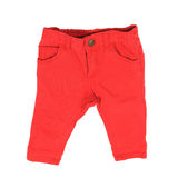 Kid red jeans isolated over white Stock Photography