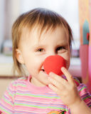 Kid with red nose. Clown fooling around Royalty Free Stock Photos