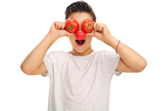 Kid with a red nose and tomato eyes Royalty Free Stock Photo
