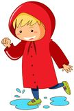 Kid in red raincoat jumping in puddles. Illustration Royalty Free Stock Images