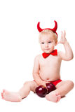 Kid in red suit of tempting devil Royalty Free Stock Photos