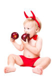 Kid in red suit of tempting devil Royalty Free Stock Image