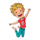 Kid in red t-shirt in a jump Stock Images