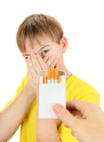Kid refuse Cigarettes Royalty Free Stock Photo