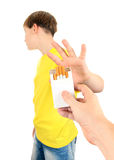 Kid refuse Cigarettes. Isolated on the White Background Royalty Free Stock Photos