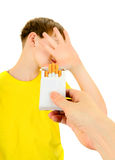 Kid refuse Cigarettes Royalty Free Stock Images