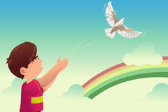 Kid release a bird. A vector illustration of kids release a bird for freedom concept stock illustration