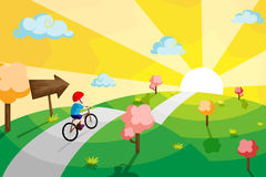 Kid riding bicycle. A vector illustration of a kid riding a bicycle in a countryside Stock Image