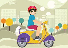 Kid riding bike illustration Royalty Free Stock Images